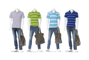 Four male mannequin dressed in jeans with striped shirt