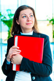 Encouraged by a businesswoman holding a red folder poster