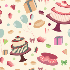 festive seamless background with sweets and tea
