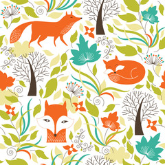 Seamless pattern with the cute fox