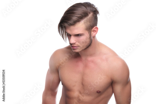 topless fashion man with nice hairdo
