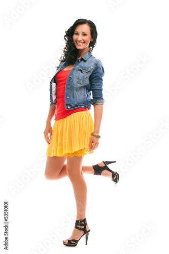 Beautiful caucasian woman in bright casual