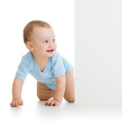 baby boy peeking out poster
