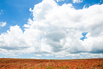 Rural Landscape of Bare Farmland with a Beautiful Sky Above