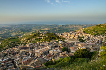 Mountain town Caltabellotta (Sicily, Italy) in the morning