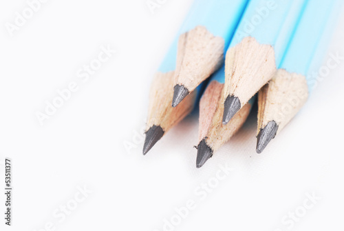 stack of blue pencils