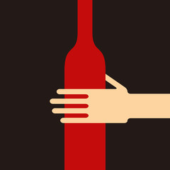 Hand holding a wine bottle. Concept of alcoholism