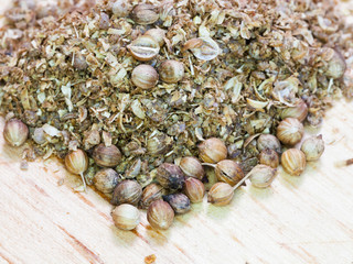 freshly milled and dried coriander seeds