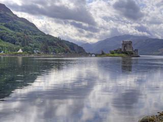 eilean donan castle scotland with reflection