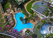 Swimming pools and bar at the beach of luxury hotel,