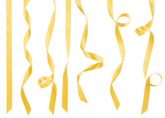 Gold ribbon collection on white, clipping path