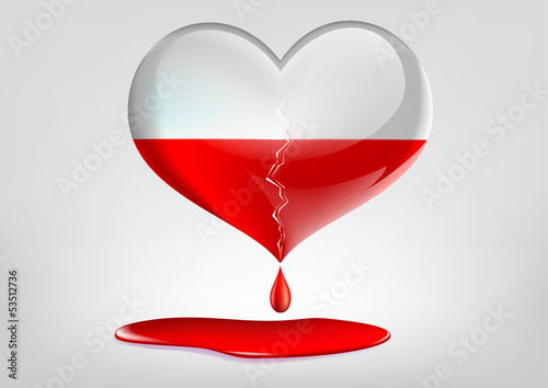 glass heart with a crack and blood