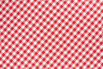 Tablecloth red and white diagonal texture background