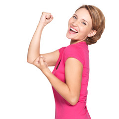 Beautiful happy woman celebrating success