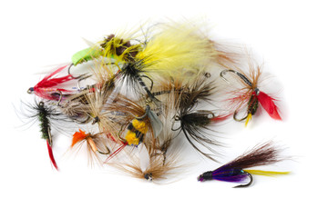 Various fly fishing lures - nymphs, dry flies and streamers