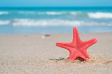 red star and white sand