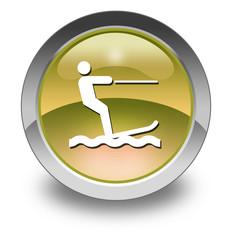 "Yellow Glossy Pictogram ""Water Skiing"""