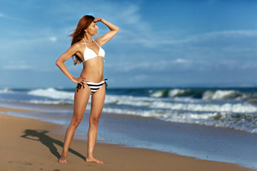 beauty woman on sea beach