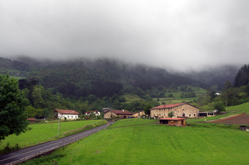 Basque country village with typically basque houses
