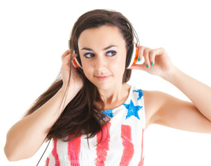 Young woman with headphones.  girl listening to music in headpho