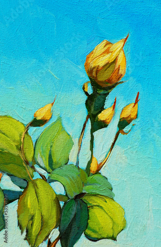 yellow rose, painting by oil on canvas, illustration