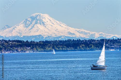 Foto op Canvas Natuur Park Mount Rainier Puget Sound North Seattle Snow Mountain Washington