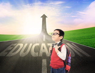 Boy student on education success road
