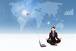 Businesswoman meditate with laptop on world map background