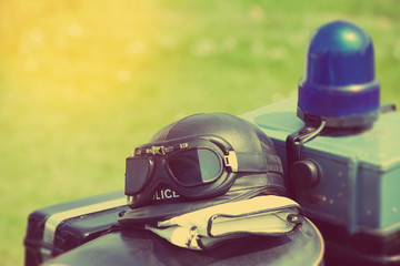 retro police motorcycle helmet