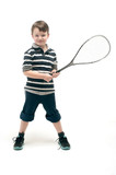 Little boy with tennis racket