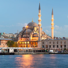 Mosque near the Galata Bridge at night in Istanbul