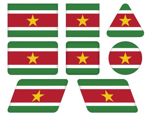 set of buttons with flag of Suriname