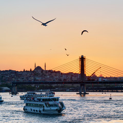 The Golden Horn and cityscape at sunset, Istanbul