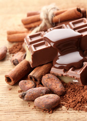 Composition of chocolate sweets, cocoa and  spices