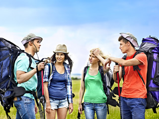 Group people on travel.