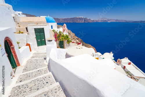 Architecture of Oia village on Santorini island, Greece