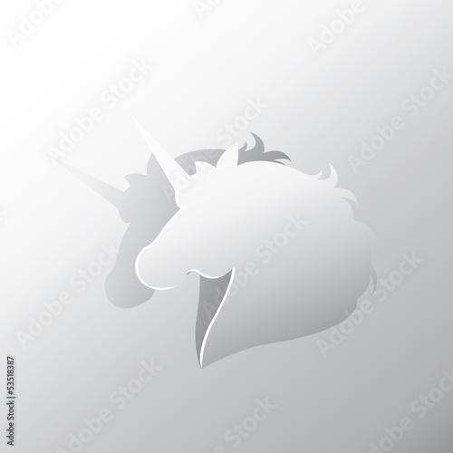 Unicorn peel off from silver paper background