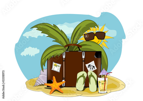 Sommer, Sonne, Urlaub Illustration