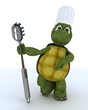 tortoise chef with pasta spoon