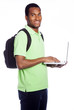 African American student holding a laptop - isolated over a whit