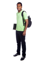 Full body portrait of a African American student smiling - isola