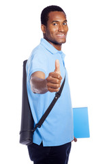 African American student thumbs up - isolated over a white backg