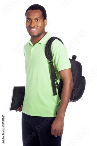 African American student smiling - isolated over a white backgro