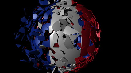 France flag sphere combining and breaking apart animation