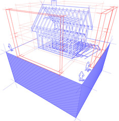 blueprint framework house with dimensions diagram