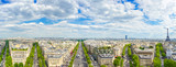 Paris, panoramic view of from Arc de Triomphe. France