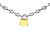 3d padlock and chain isolated