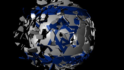 Israel flag sphere combining and breaking apart animation
