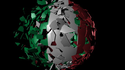 Italy flag sphere combining and breaking apart animation