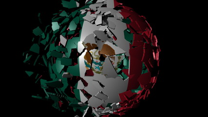Mexico flag sphere combining and breaking apart animation